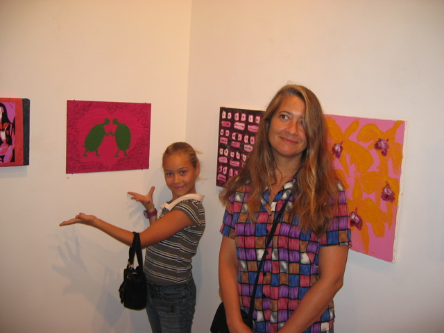 Rachel showing her art in NYC with her agent Sylvie
